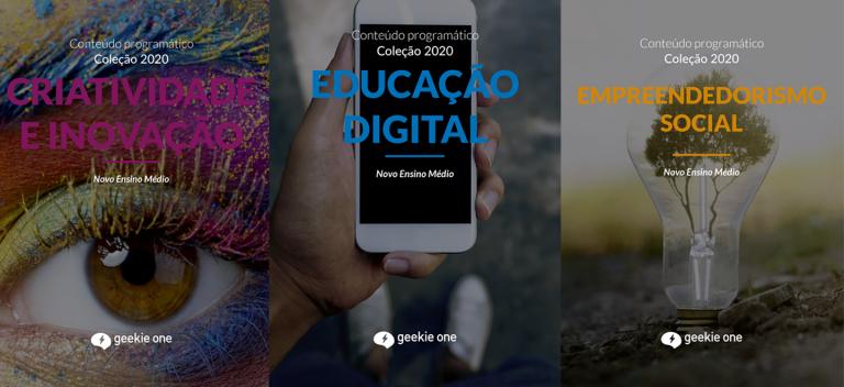 Itinerarios formativos e as capas dos conteúdos programáticos das disciplinas eletivas geekie one para Ensino Médio - InfoGeekie